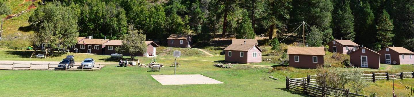 View of site showing all common areas and cabinsBig Springs Cabin Site is nestled in the Ponderosa Pines on the Kaibab National Forest near the north rim of the Grand Canyon.