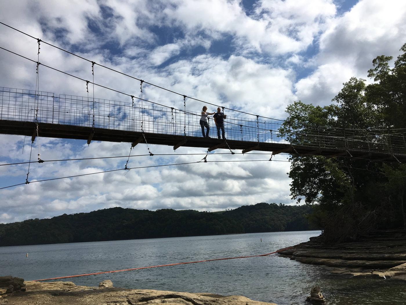 PLEASANT GROVE DAY USE SWINGING BRIDGE VIEW FROM LAKE SHOREPLEASANT GROVE DAY USE