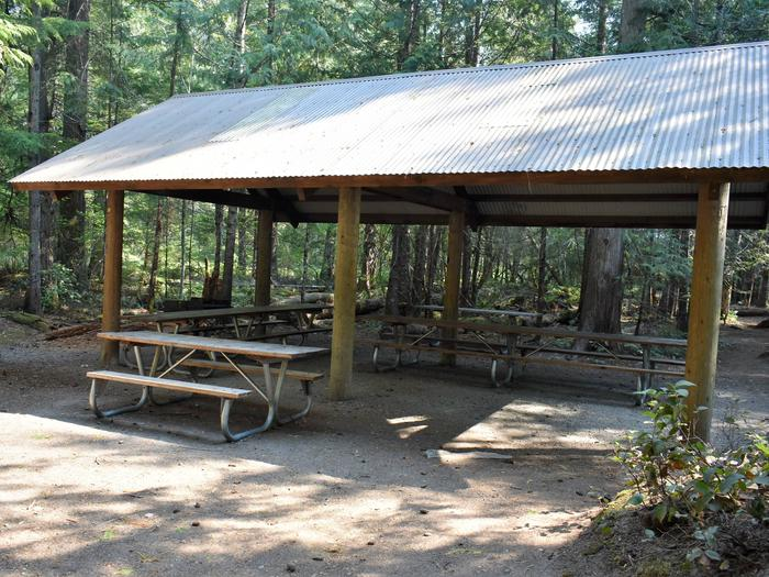 Large shelter with multiple picnic tablesView of group shelter B