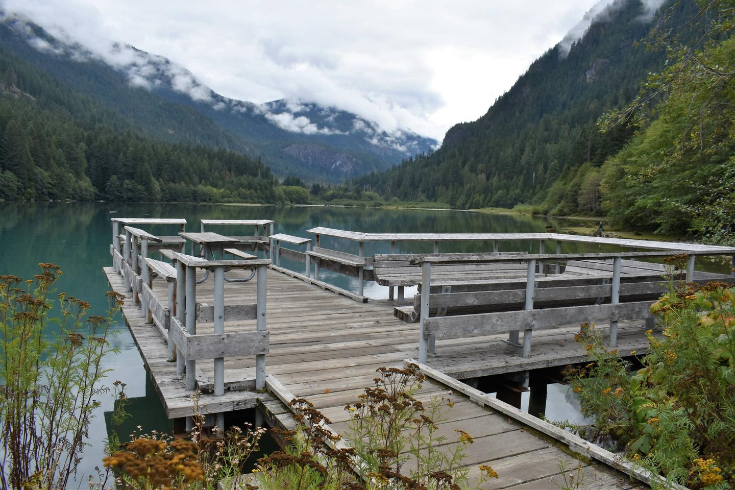 Fishing pier on the shores of Diablo LakePublic fishing pier on Diablo Lake at the Colonial Creek Campground