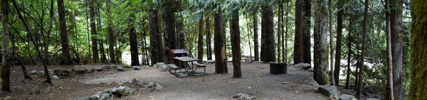 Picnic tables, fire ring, and food storage lockerView of campsite