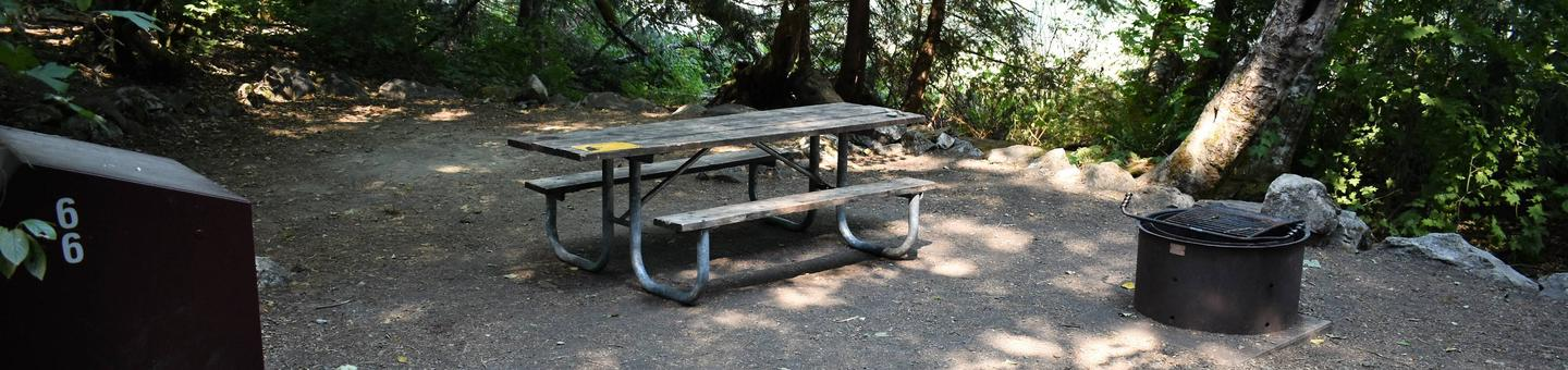 Food storage locker, picnic table, and fire ringView of campsite