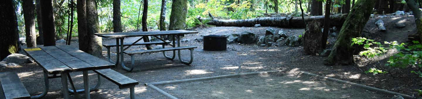 Two picnic tables, fire ring, and tent padView of campsite