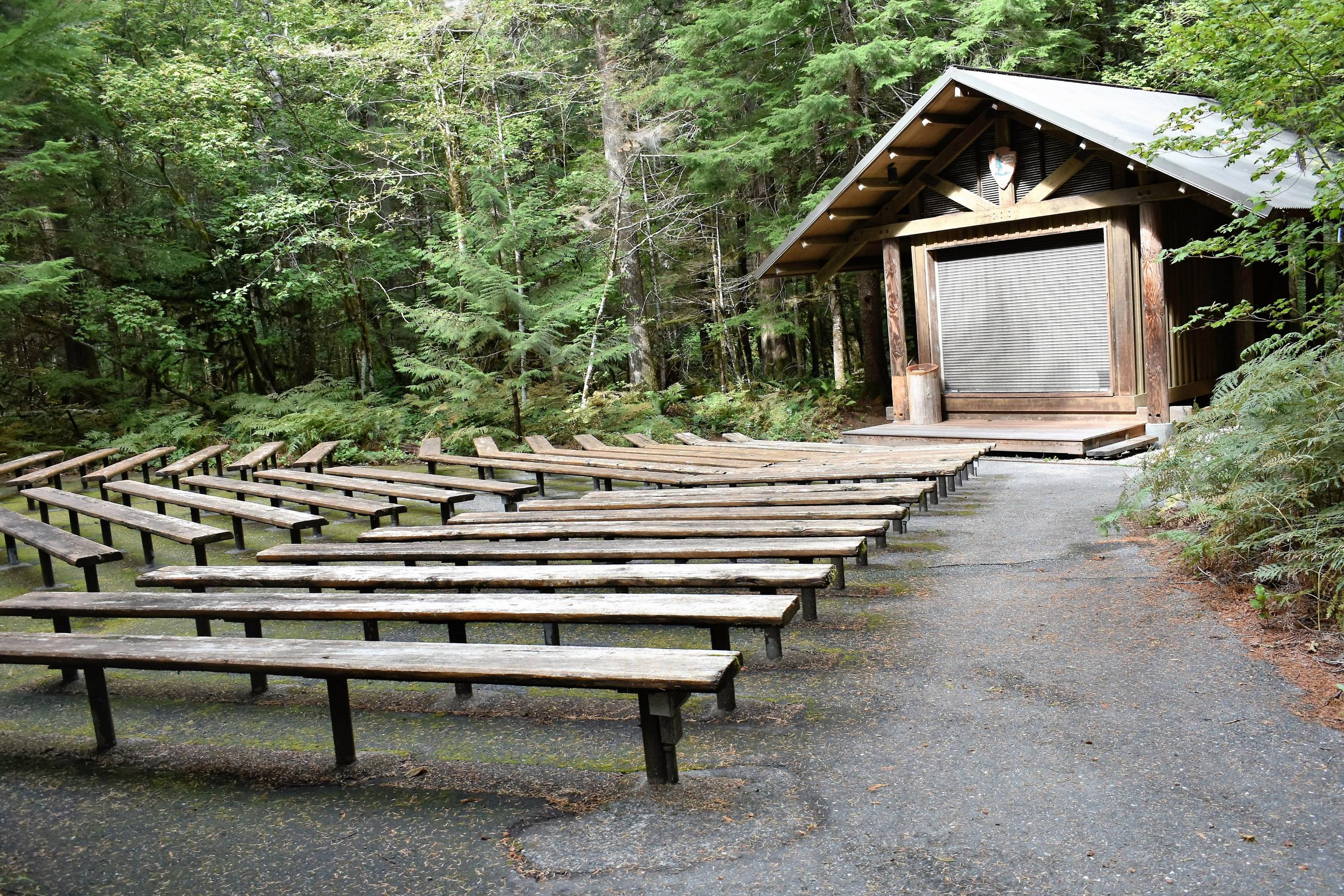 Rustic amphitheater in campgroundAmphitheater located in the campground for Ranger programs