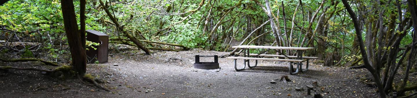 Food storage locker, fire ring, and picnic tableView of campsite