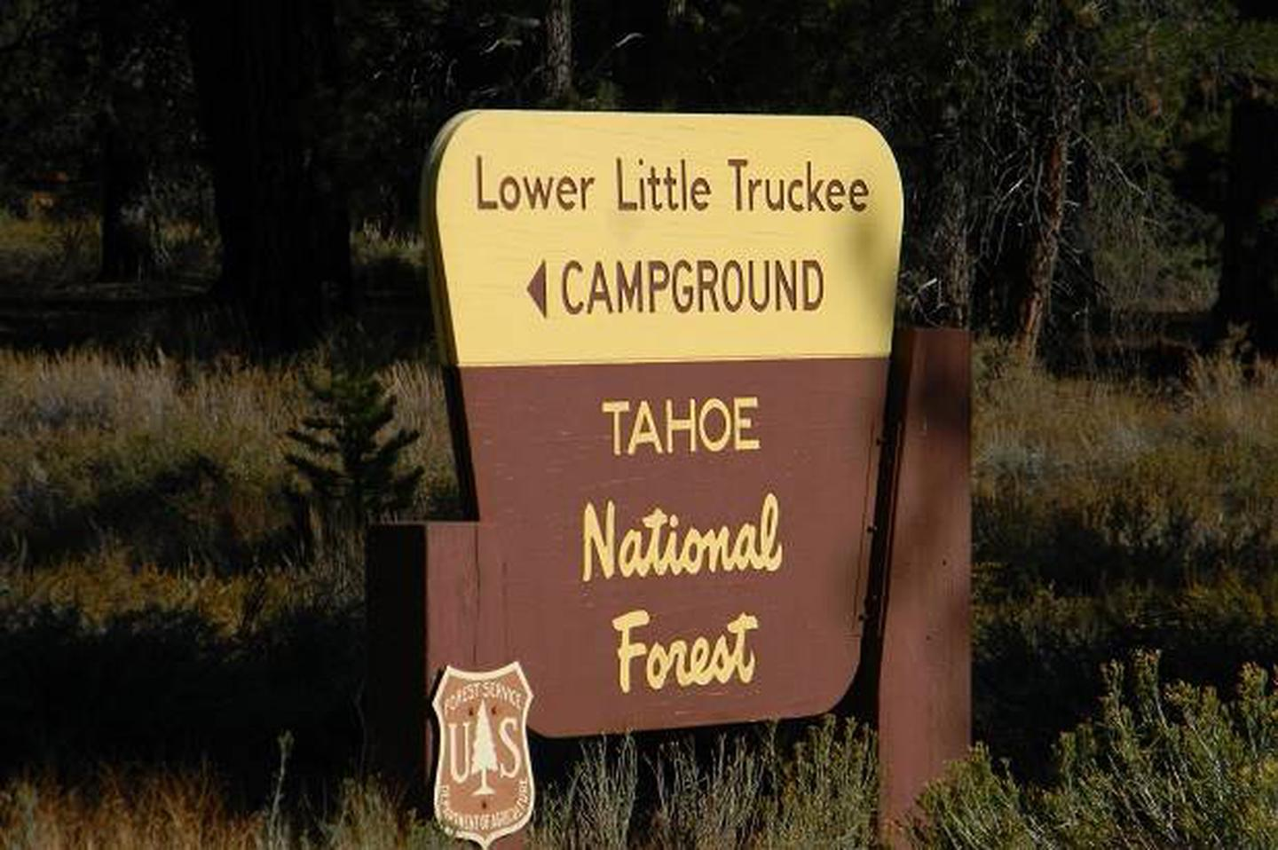 Entrance sign along Hwy 89 to the Lower Little Truckee campground.