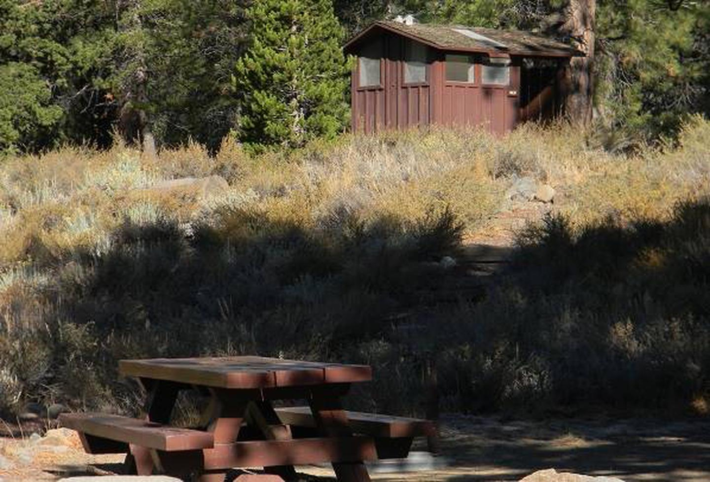 Picnic table in the shade within Lower Little Truckee CampgroundA typical campsite at Lower Little Truckee Campground.
