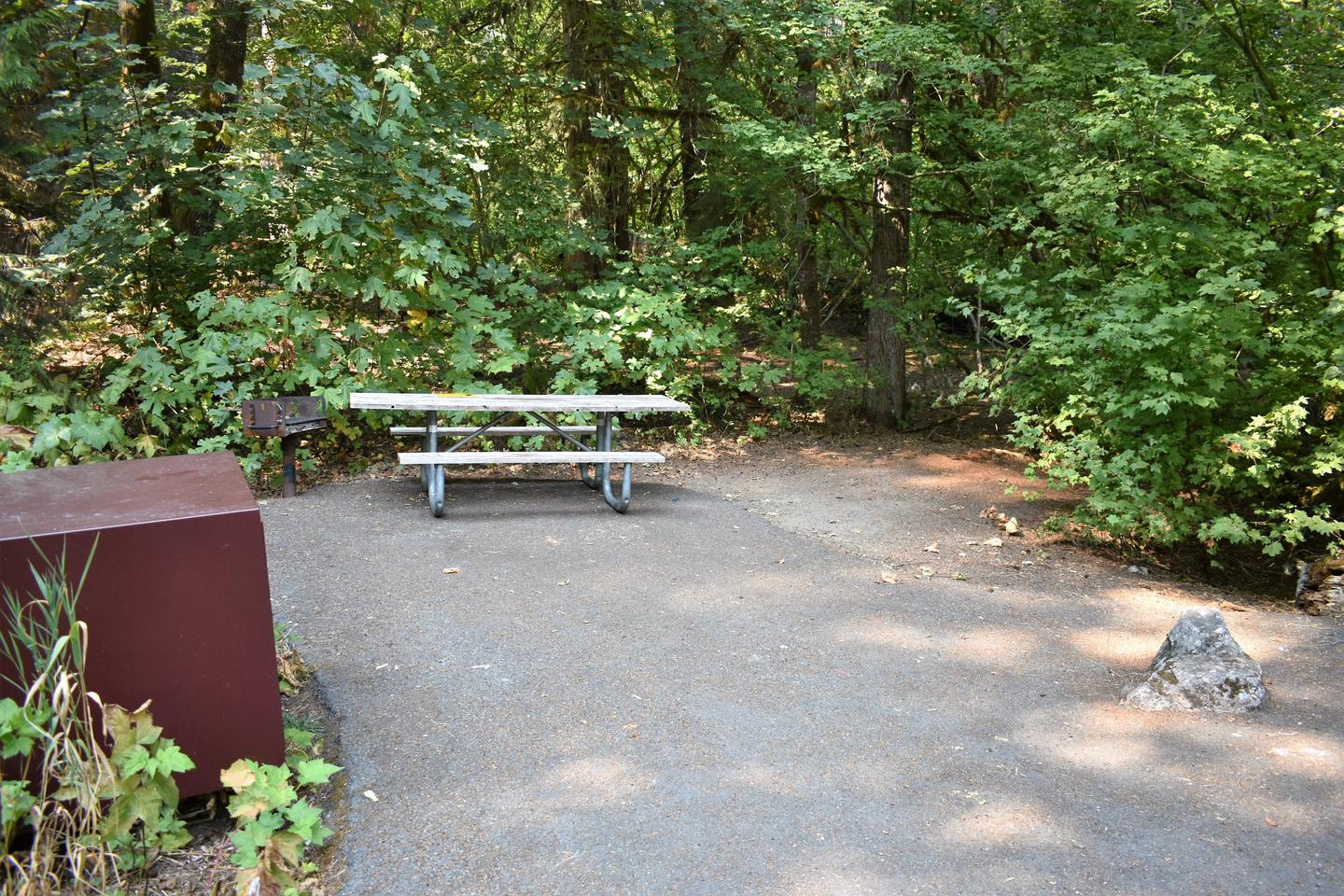 Food storage locker, grill, and picnic tableView of campsite