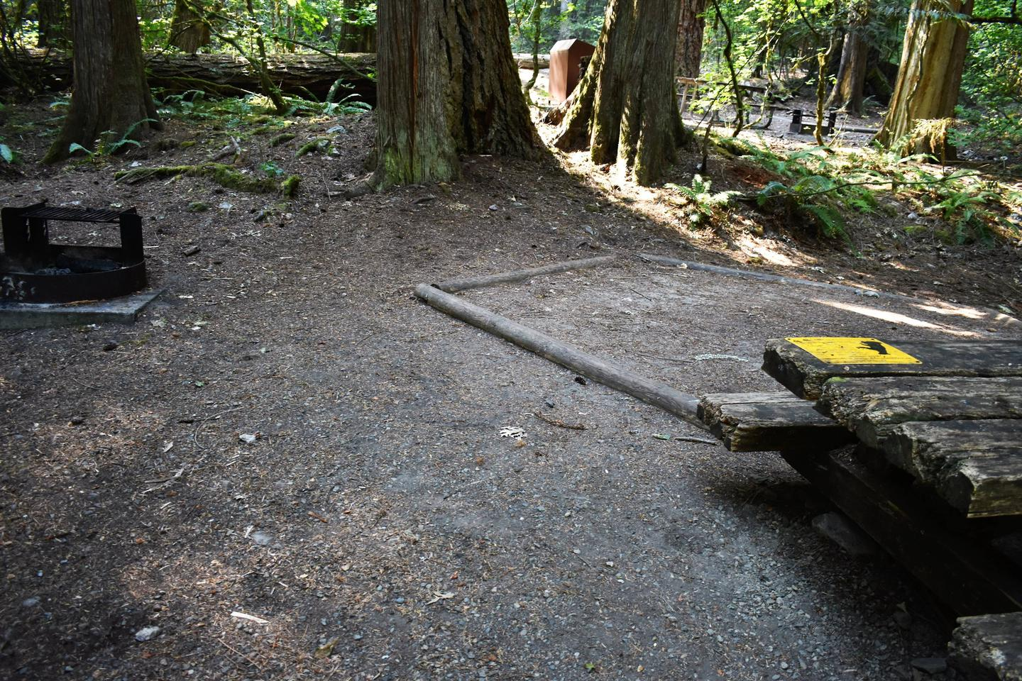 Fire ring, tent pad, and picnic tableView of campsite