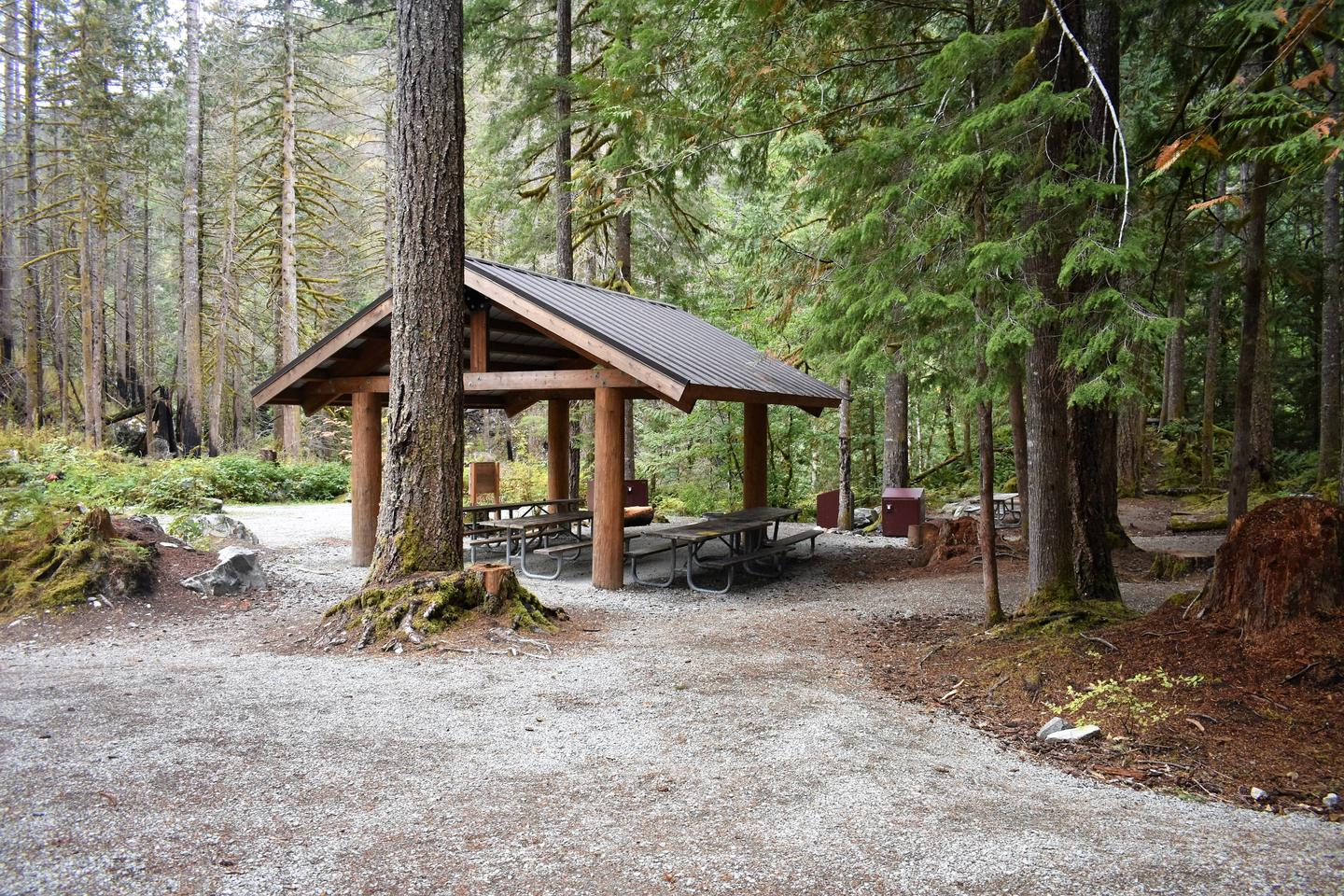 Group shelter providing rain and sun protection to several picnic tables underneathView of campsite