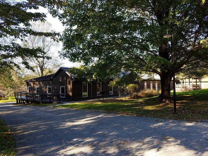 Round Meadow Dining Hall with treesRound Meadow Dining Hall