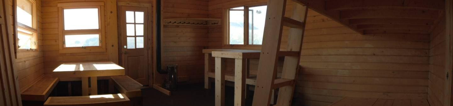 Spencer Bench Cabin InsideThis interior has a strong and soothing aroma of  Alaska Yellow Cedar!