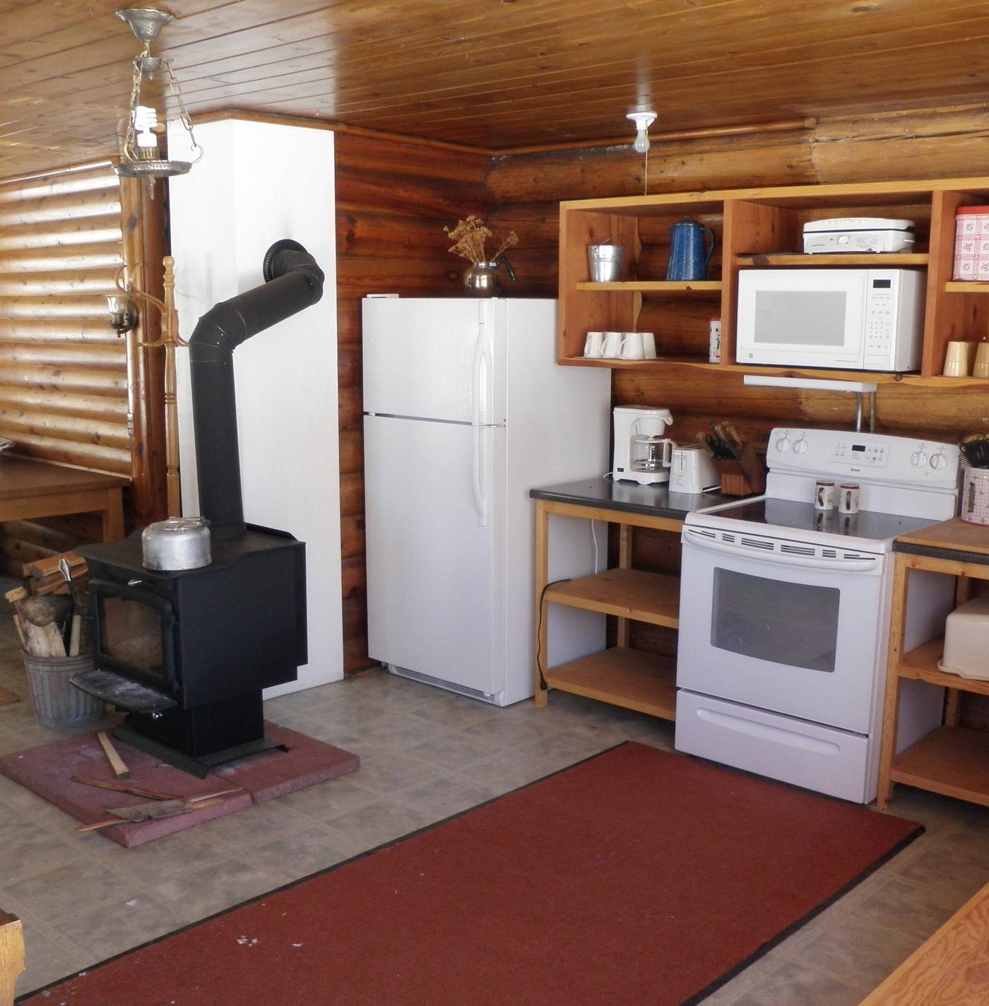 Kitchen and woodstove in the Lone Cone CabinView of kitchen and woodstove in the Lone Cone Cabin