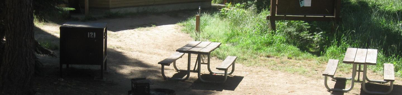site 121, no generator loop, partial shade, near restrooms
