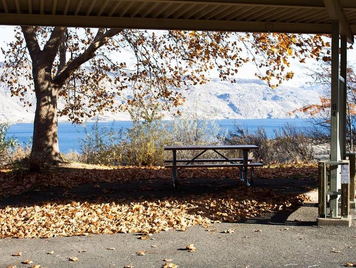 """Back in paved parking under a steel structure 10' 02"""" clearance.Site 64 overlooking the lake."""