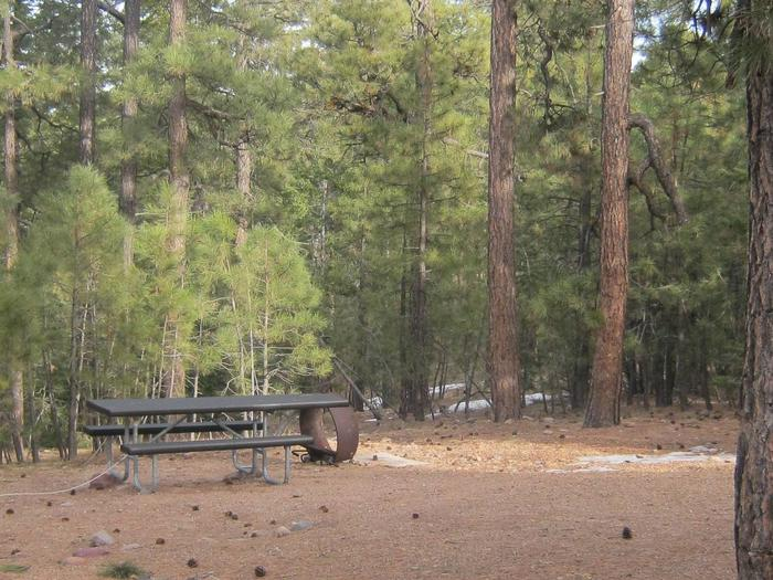 view of Black Canyon Rim Campground site 13 showing picnic table and upturned fire ringBlack Canyon Rim Campground site 13