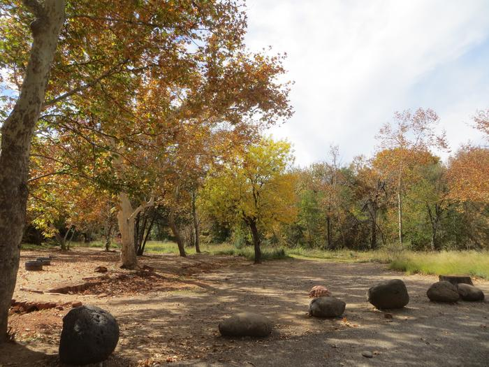 Chavez Crossing Group Site #1 featuring treed camp space, fire pits, and additional parking.