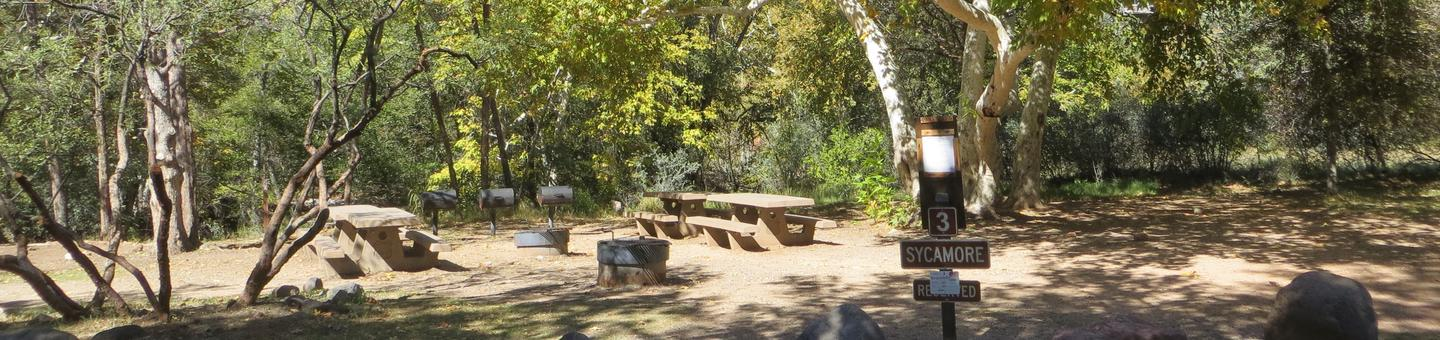 Group Site #3 at Chavez Crossing Campground featuring shaded trees and picnic and camping space.