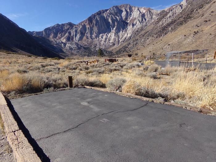 View of parking space with mountain views at Convict Lake Campground Site #2
