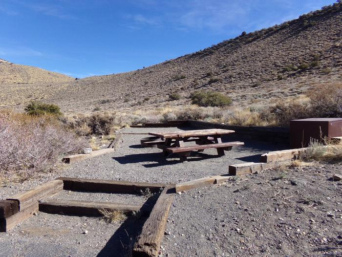 Convict Lake Campground site #3 featuring picnic table, food storage, and fire pit.