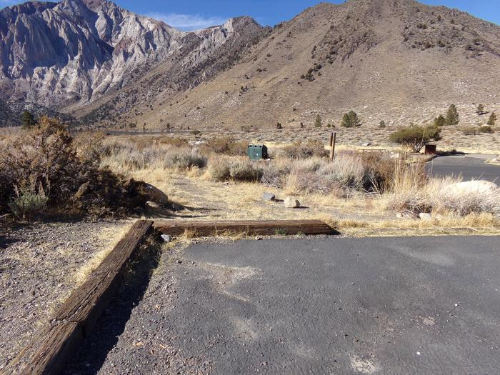 View of mountains and campground from campsite #3 at Convict Lake Campground.