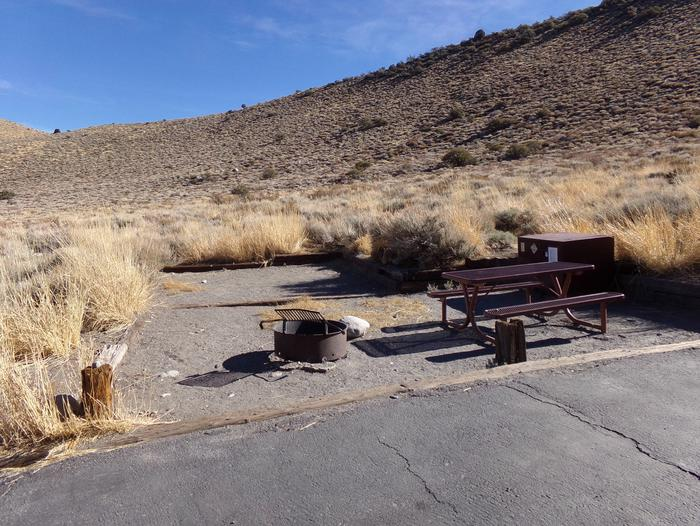 Site #5 at Convict Lake Campground featuring camping area with picnic table, bear resistant food storage, and fire pit.