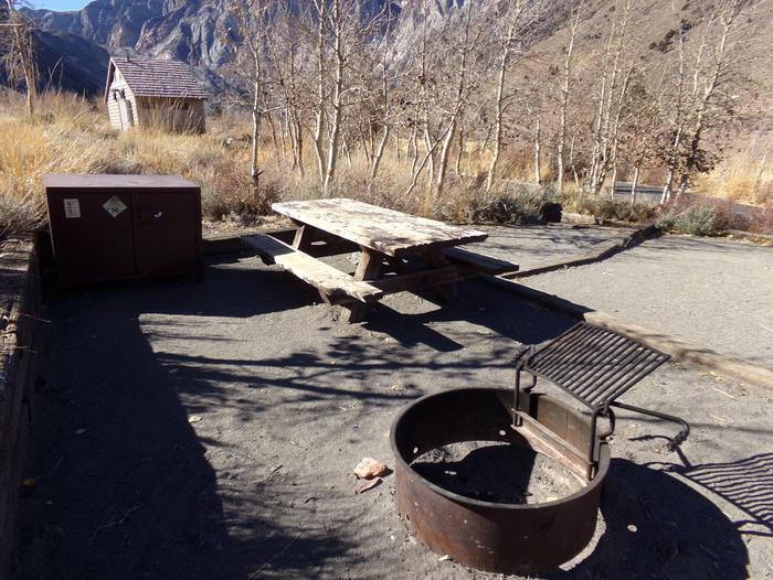 View from Campsite #6 at Convict Lake Campground featuring mountain and campground views. View from Campsite #6 at Convict Lake Campground featuring mountain and campground views. Pathway to restrooms close by.