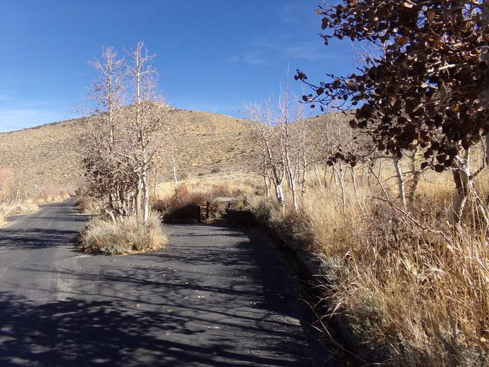 Entrance and parking space to site #6 at Convict Lake Campground