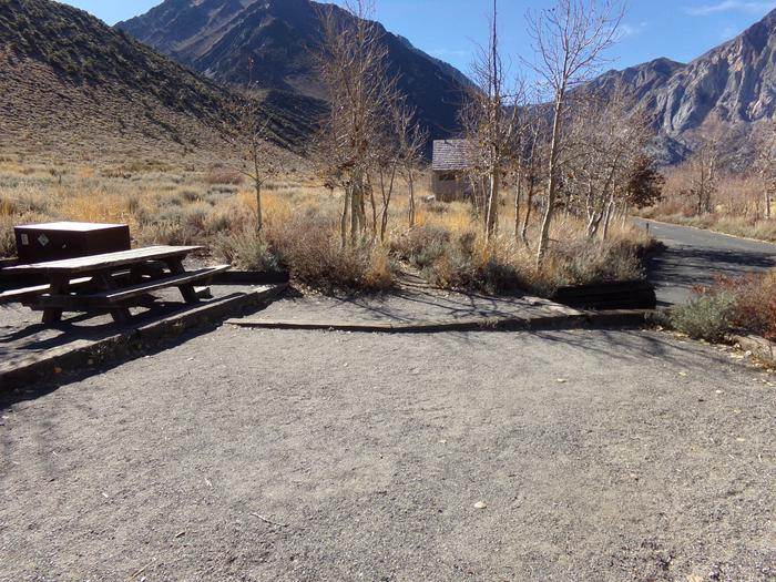 Campsite #6 camping area, parking, and views of campground and mountains at Convict Lake Campground.