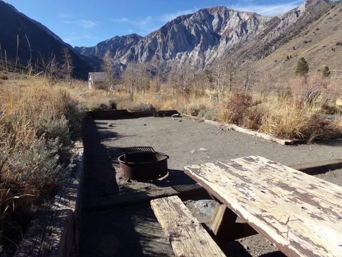 Campsite #8 at Convict Lake Campground featuring camping space and campground and mountain views.