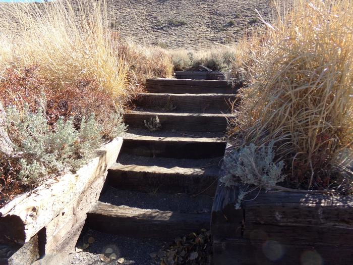 Steps to campsite #8 from parking at Convict Lake Campground.
