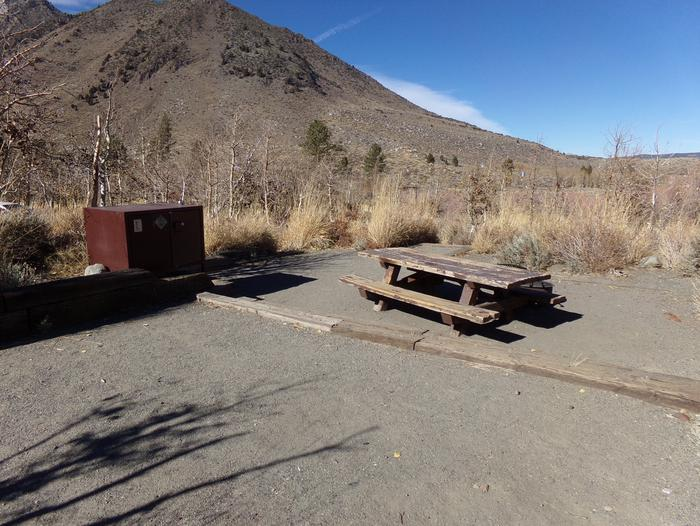 Convict Lake Campground Site #11 featuring picnic table, food storage, and fire pit.