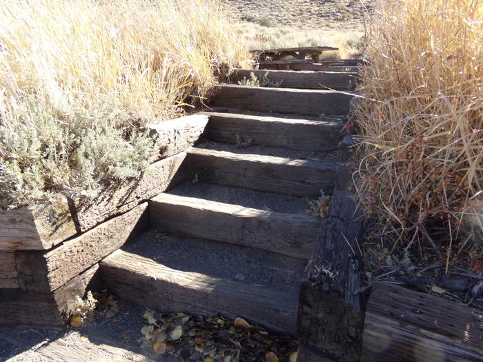 Steps to campsite #11 from parking at Convict Lake Campground.