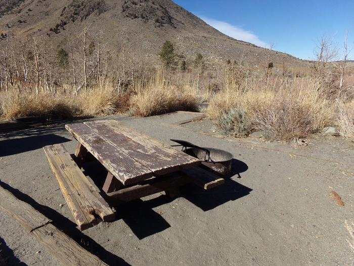 Additional view of mountains and camp space of site #11 at Convict Lake Campground.