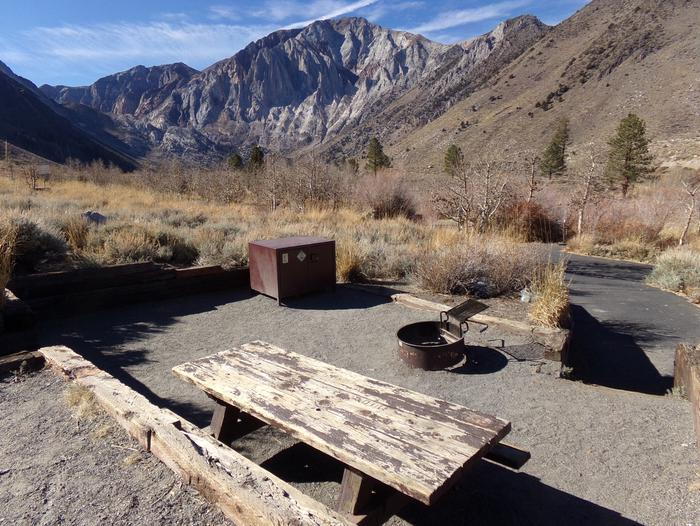Picnic area, fire pit, and bear resistant food storage at site #13, Convict Lake Campground.