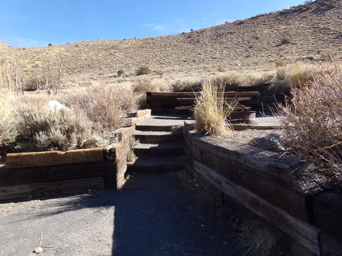 Steps to site #13 from parking at Convict Lake Campground.