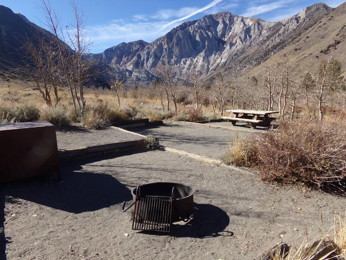Picnic table and camping space view at site #15 at Convict Lake Campground.