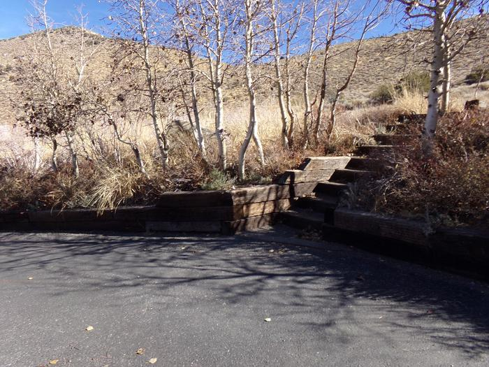 Steps to raised campsite #15 from parking at Convict Lake Campground.
