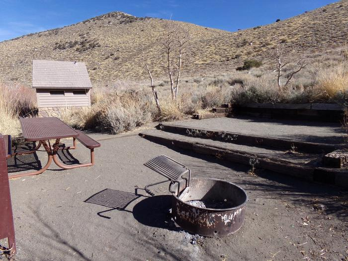 Convict Lake Campground site #17 campsite view featuring picnic table, fire pit, and mountain view.Convict Lake Campground site #17 campsite view featuring picnic table, fire pit, and mountain view. Close proximity to restrooms