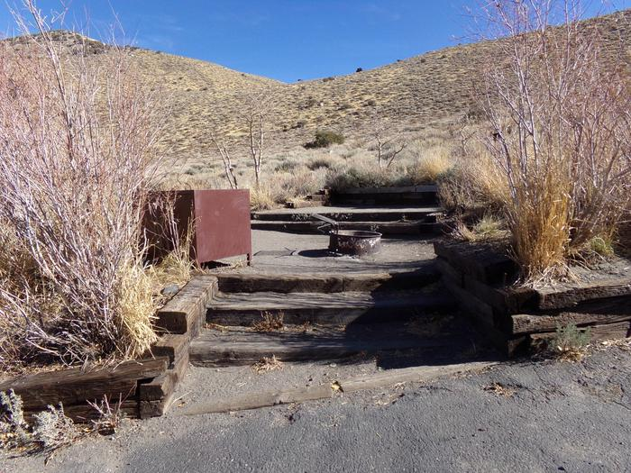 Steps leading to raised campsite #17 from parking space at Convict Lake Campground.