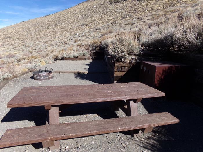 Convict Lake Campground site #21 featuring picnic table, camping space, food storage, and fire pit.