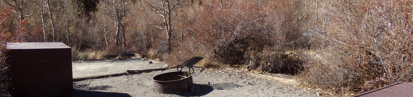 Convict Lake Campground site #27 featuring treed camp space by creek, fire pit, and camping space.
