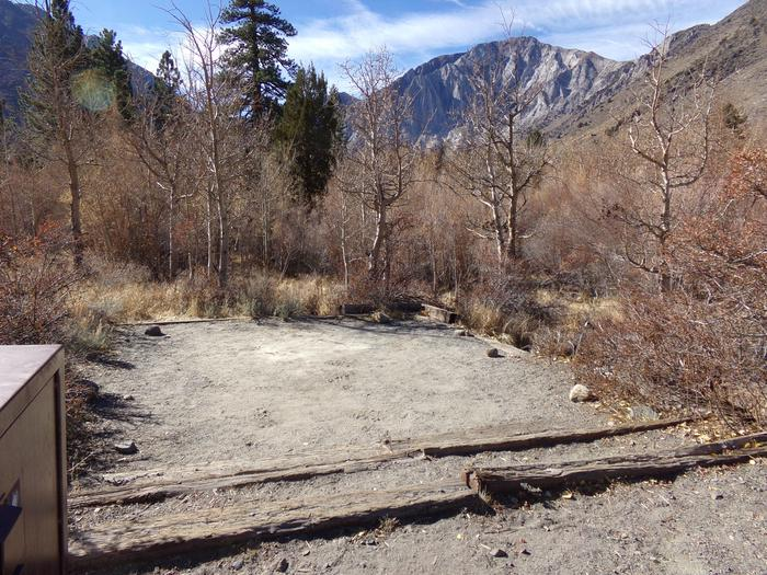 Large camping space among the trees with mountain views at site #27, Convict Lake Campground.