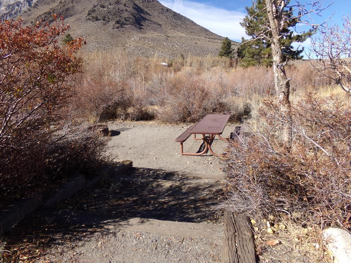View of entrance to campsite #27 from parking space at Convict Lake Campground.