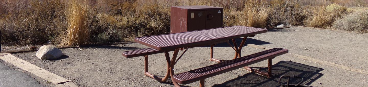 Convict Lake Campground site #32 featuring full camping space, bear resistant food storage, and picnic table.