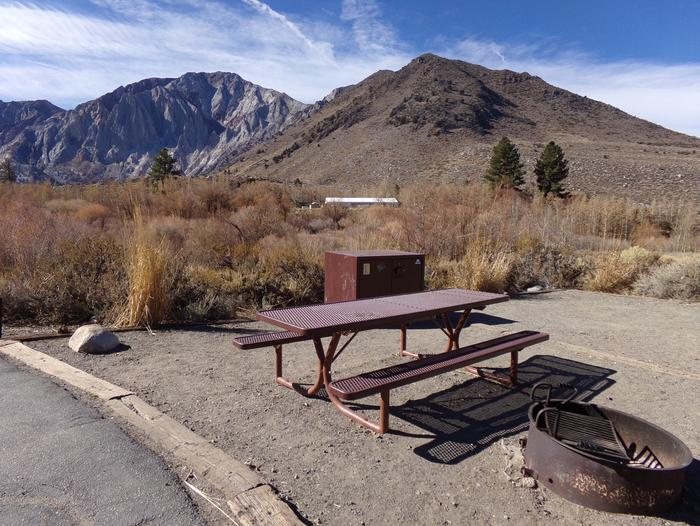 Convict Lake Campground site #32 featuring full camping space and mountain views.