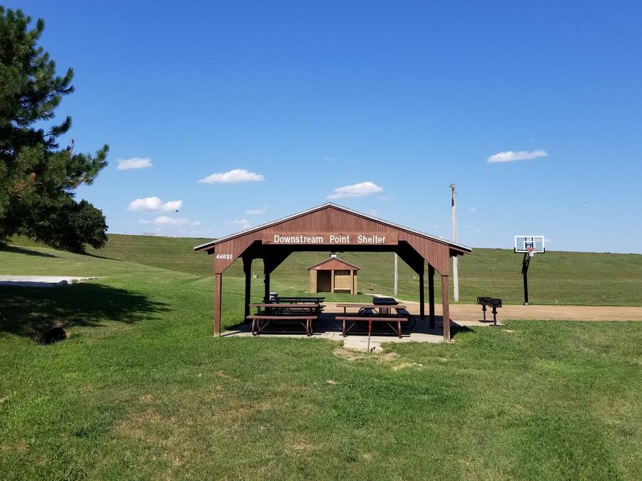 Downstream Point Shelter is next to the outlet channel and has a basketball court adjacent to it making it a perfect place for a get together.Downstream Point Shelter