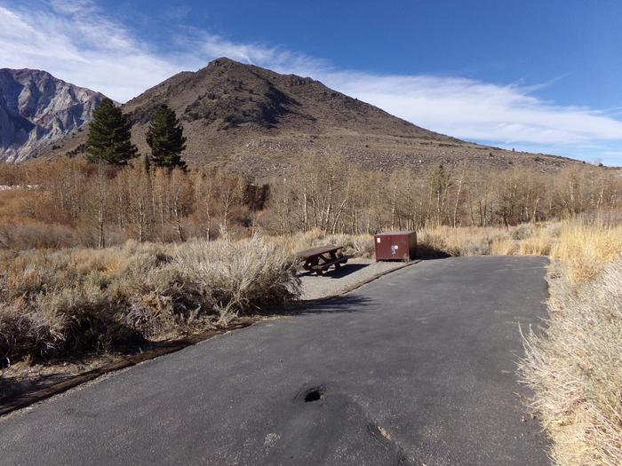 Entrance and parking to site #34, Convict Lake Campground.
