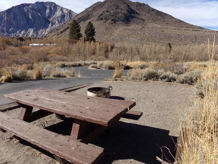 Campsite #35 view of picnic table, entrance, and fire pit at Convict Lake Campground.Campsite #35 view of picnic table, entrance, and fire pit at Convict Lake Campground. Campground and mountain views.