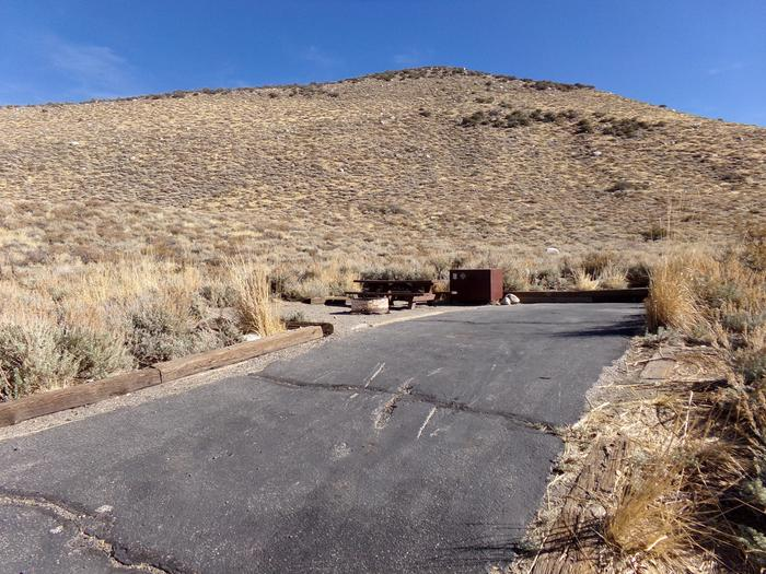 Entrance and parking for site #35, Convict Lake Campground.